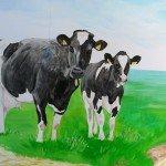muurschildering landschap, koeien
