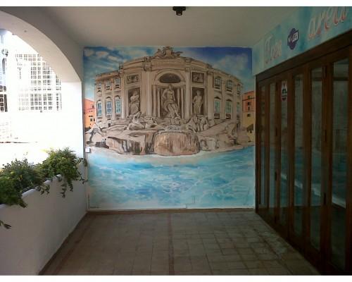 Muurschildering restaurant