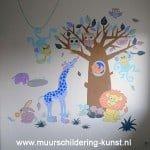 babykamer muurschildering dieren