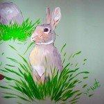 muurschildering bos konijn