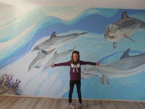 muurschildering dolfijnen kinderkamer
