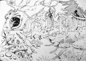 Voorbeeld van het ontwerp voor de muurschildering van een sprookjesbos.