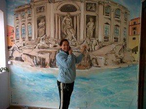 Muurschildering Trevi fontein, € 350,-
