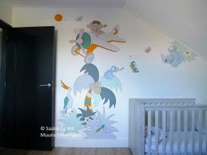 Kinderkamer Ideeen Dieren : Muurschildering babykamer inspiratie saskia de wit muurschilderingen