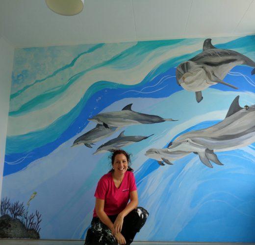 dolfijnen kinderkamer muurschildering