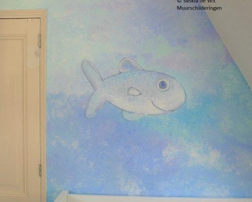 kinderkamer muurschildering vissen