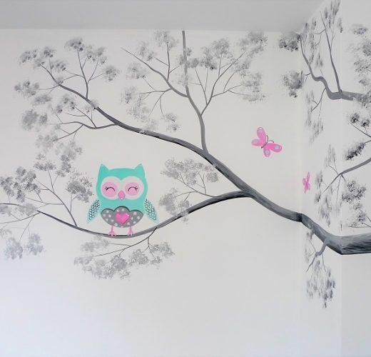 kinderkamer muurschildering uiltje