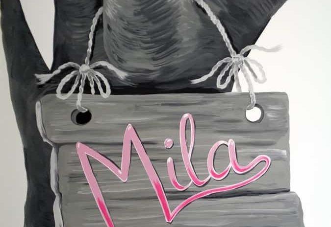 muurschildering naam baby