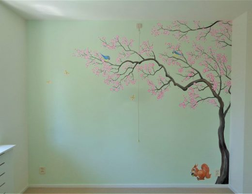 muurschildering boom