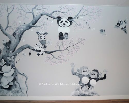babykamer muurschildering idee
